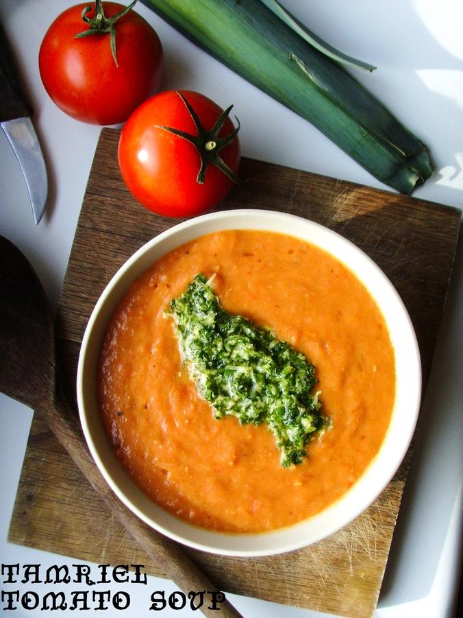 tomato soup z tamriel - skyrim - zupa z pieczonych pomidorów z pesto