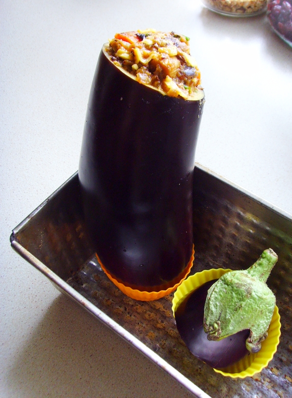 Stuffed Eggplant - Don't Starve - nadziewany bakłażan z farszem grzybowo-warzywnym (6)