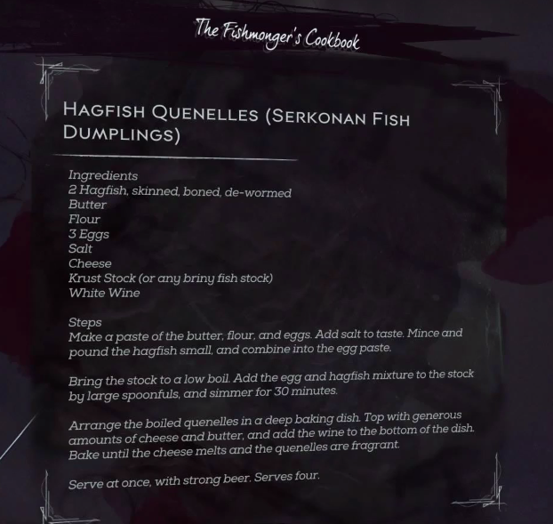 dishonored 2 fishmonger's cookbook